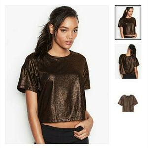 NEW Victoria's Secret Metallic Bronze Crop Top L